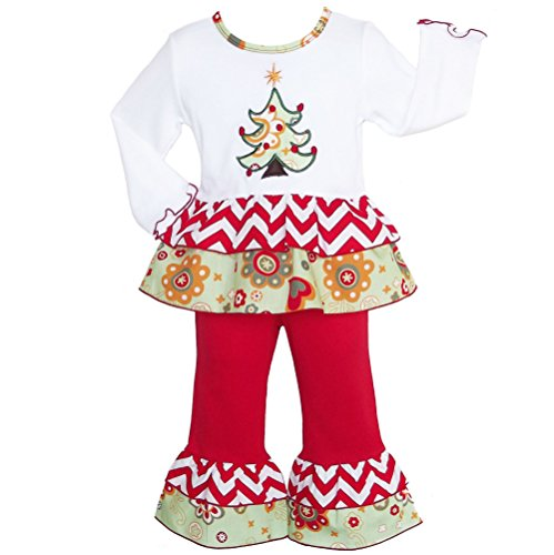 AnnLoren Girls - Boutique Floral Christmas Tree Shirt & Pants Clothing