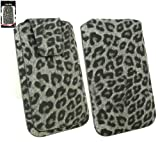 Emartbuy® Classic Range Faux Suede Leopard Grey Slide in Pouch / Case / Sleeve / Holder ( Size 3XL ) With Magnetic Flap & Pull Tab Mechanism Suitable For Mobistel Cynus T1