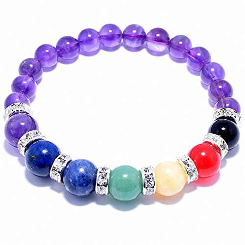 Natural Amethyst Gem Beads, maxin 8MM Semi-Precious stones Bracelet (10mm beads of Amethyst,Lapis Lazuli,Sodalite,Green Aventurine,Yellow Quartzite,Red Quartzite,Black Agate;8mm beads of Amethyst)
