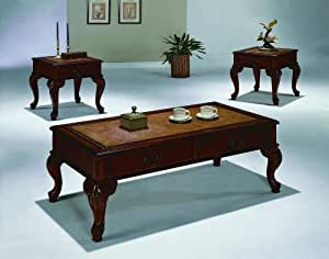 Queen anne style 3pc ocassional table set by - Queen anne style living room furniture ...