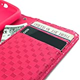 myLife Neon Pink Checker Print {Luxury Design} Faux Leather (Multipurpose - Card, Cash and ID Holder + Magnetic Closing) Folio Slimfold Wallet for the LG G2 Smartphone (External Textured Synthetic Leather with Magnetic Clip + Internal Secure Snap In Closure Hard Rubberized Bumper Holder)