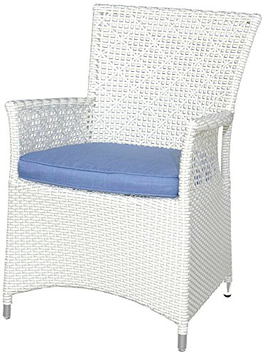 Siena Garden 255281 Sessel Dehli Aluminium-Gestell Gardino®-Geflecht ivory blue Inkl. Kissen hellblau