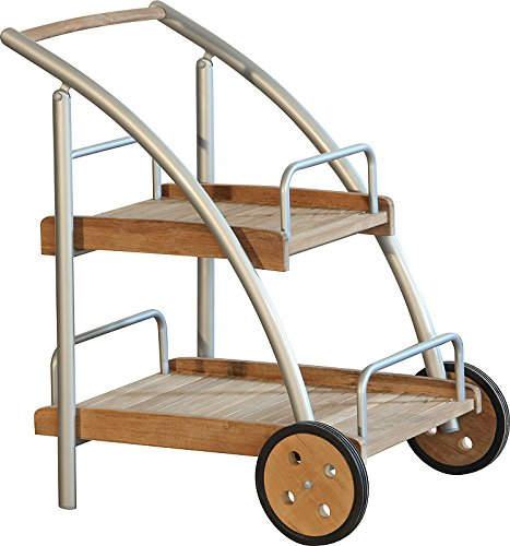 IB-Style - DIPLOMAT Servierwagen Silber/Teak - Getränke Trolley Service Tisch Beistelltisch Abstelltisch Picknick Fruhstuck Buttler