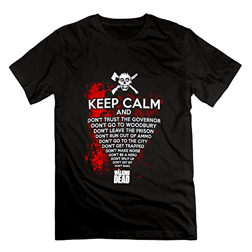 Youqian Walking Dead Keep Calm And Men's T-Shirt XX-Large Black Mens