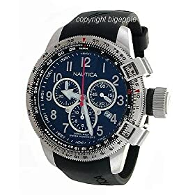 NAUTICA DARK BLUE DIAL CHRONOGRAPH LEATHER BAND MENS WATCH - N19521G