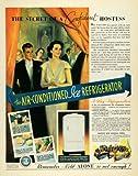 1937 Ad Ice Refrigerator Hostess Kitchen Home Appliance - Original Print Ad ....