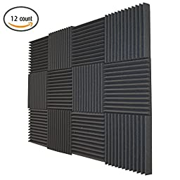 12 Pack - Soundproofing Foam Acoustic Tiles Studio Foam Sound Wedges 2\