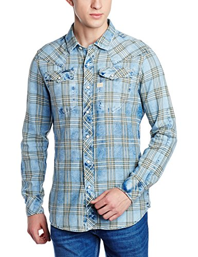 G-STAR RAW Tacoma Shirt l, Camicia Uomo, Blu (Indigo/Dk Bronze Green Check 6555), Medium (Taglia Produttore: Medium)