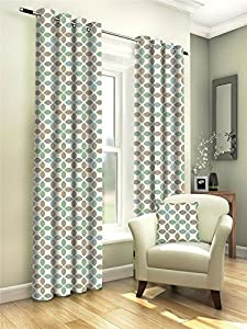 """Geometric Leaf Duck Egg Blue 46x54"""" 117x137cm Lined 100% Cotton Ring Top Curtains *gj* by Curtains"""