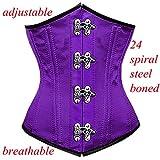 DoLoveY Women's Strapless Lace Up Shaper Underbust Steel Bone Court Corset Basque (XXL, Purple)