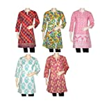 Wholesale lot of 5 Pcs Kurta with Handmade Block Print Tops Tunic