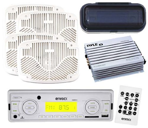 Outdoor Marine New Radio Usb Sd Aux Input W/Remote 4 X 6X9 Speakers White + Amp