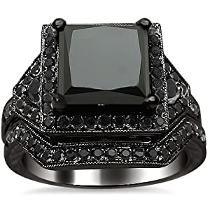 4.25ct Black Princess Cut Diamond Engagement Ring Bridal Set 14K Black Gold Rhodium Plating Over White Gold