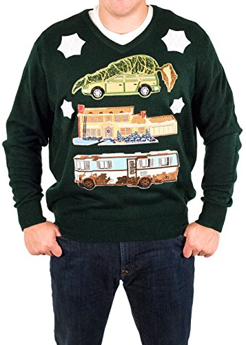 Christmas Vacation House with RV and Car Ugly Christmas Sweater