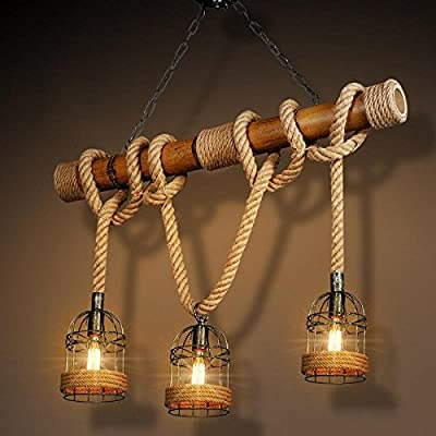 CHXDD Maishang wrought iron Lampshade chandelier creative American country of three-headed personality retro bar and restaurant and bar rope pendant 1000500mm