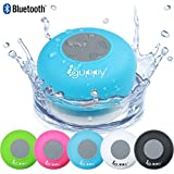 Guppy® Water Resistant Bluetooth Shower Speaker - Wireless Portable Audio, New 2015 Model - Kid-friendly, Built-in Control Buttons, Speakerphone, Powerful Suction Cup, w/Safety Lanyard - Best for Bath, Pool, Car, Beach, Indoor/Outdoor Use (Blue)