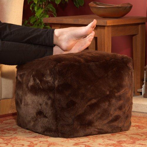 ICON Cube Bean Bags - Quality Faux Fur Bean Bags BROWN - Designer Bean Bag Cube