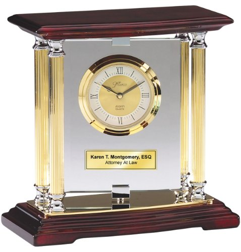 Pivoting Glass Table Desk Clock with Gold Brass Columns Mounted on Cherry Wood Base with Gold Engraving Plate. Personalized Wedding Gift, Anniversary, Service Award, Retirement and Employee Recognition Gift