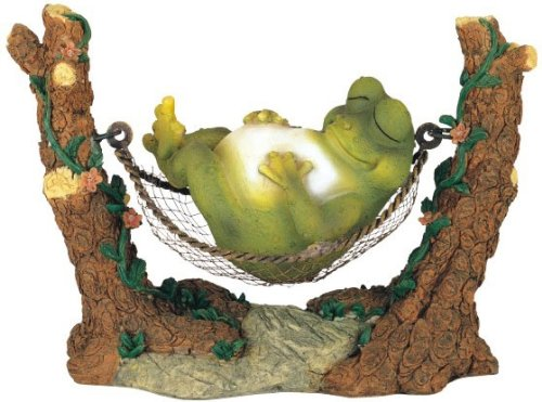 Frog on Hammock Garden Decoration Collectible Figurine Statue Model