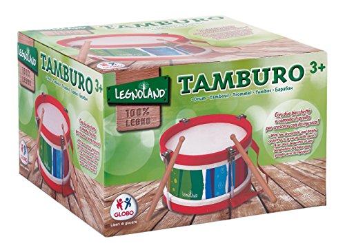 Legnoland - Tamburo in Legno con Tracolla e 2 Battenti, 22X14 Cm