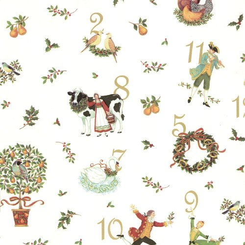 Entertaining With Caspari Continuous Gift Wrapping Paper, 12 Days Of Christmas, 1-Roll
