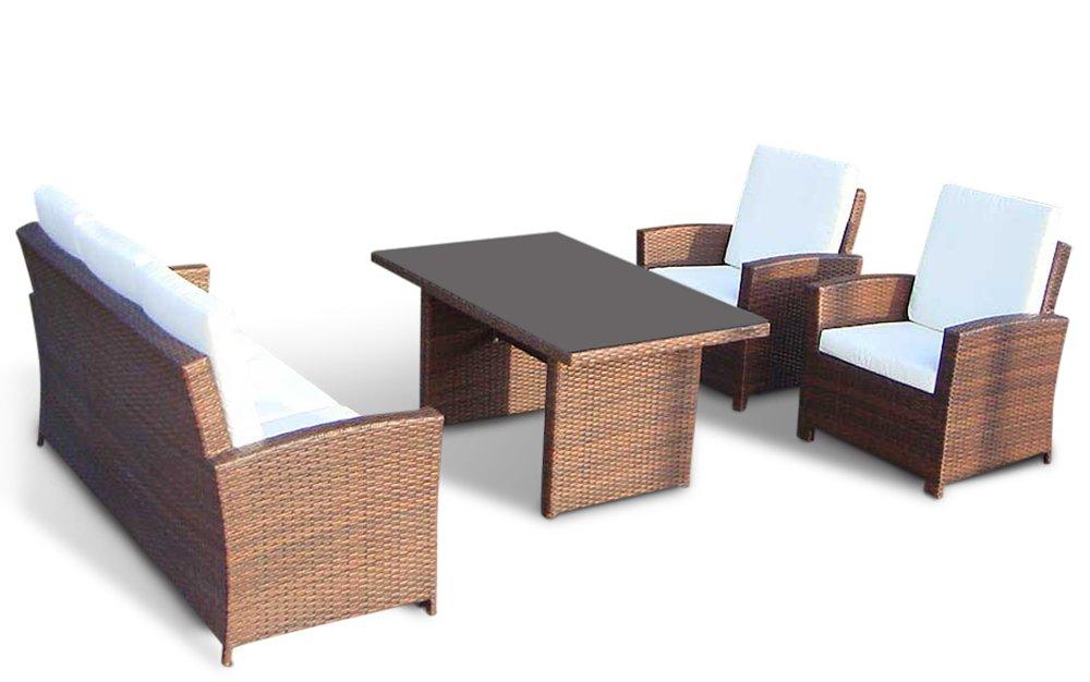 Lounge Rattan - AVIGNON | 6 cm Polster (Braun)