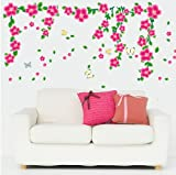Topro Flowers Vines Butterflies Wall Art Stickers Decal for Home Room Decor...