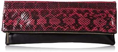 BCBG Carina Watersnake Leather Foldover Clutch,Pink,One Size