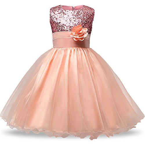 NNJXD Girl Flower Sequin Princess Tutu Tulle Baby Party Dress Size 4-5 Years Pink