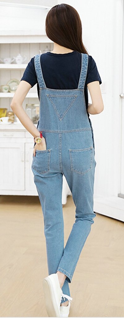 ASL Women's Vintage Pocket Cute Loose Jeans Suspender Trousers L Sky blue 1