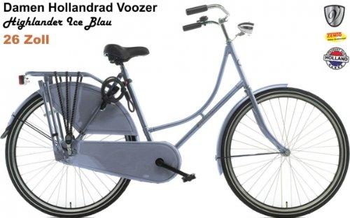 Voozer Hollandrad Damen 26 Zoll Highlander Ice Blau + gratis Handbremse vorne