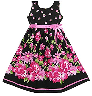 Sunny Fashion Girls Dress Hot Pink Flower Belt Party