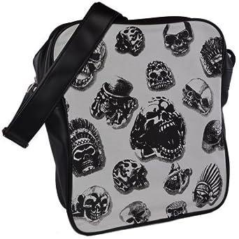 Canvas Umhänge Schulter Tasche SCHULTERTASCHE Freizeittasche 40x30x13 cm TOTENKÖPFE Skull Schwarz
