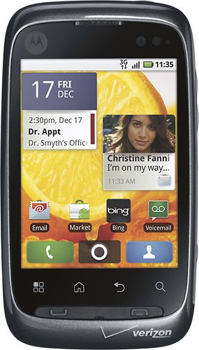 Motorola Citrus WX445 CDMA Verizon Phone with 3G, Android 2.1 OS, QWERTY Keypad, 3MP Camera, GPS and Wi-Fi - Grey/Black
