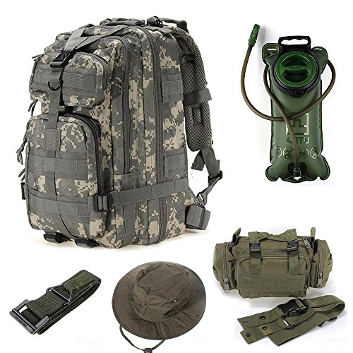 Bundle of 5 Outdoor Military Tactical Rucksack Camping Hiking Trekking Molle Backpack + Waist Pack + Waist Belt Strap + 2L Water Bladder Bag Hydration + Cap (ACU)