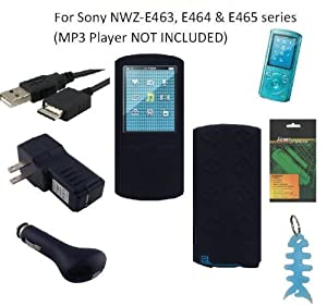 6 Items Accessories Bundle Kit for Sony E Series (NWZ-E463, NWZ-E464 and NWZ-E465) Walkman® Video MP3 Player: Includes Black Silicone Case, LCD Screen Protector, USB Wall Charger, USB Car Charger, 2in1 USB Cable and Light Blue Fishbone Style Keychain