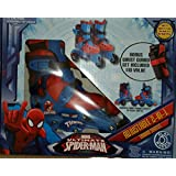 Spider-Man Adjustable Trainer 3-Wheel to Inline Skates Toddler size 6-9 with Wrist Guards