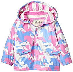 Hatley Baby Girls\' Raincoat Puzzle Piece Horses, Pink, 18 24 Months