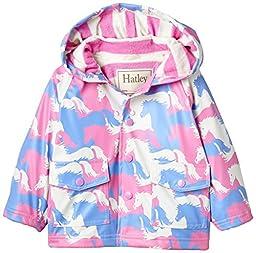 Hatley Baby Girls\' Raincoat Puzzle Piece Horses, Pink, 18 24 Months