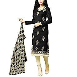 Applecreation Black Embroidered Dress Material With Matching Dupatta for Women's