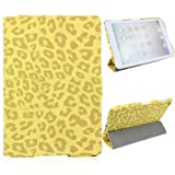 Generic Fashion Solid Leopard PU Leather Flip Case Cover with 3 Fold Stand for Apple iPad Mini Smart Tablet PC - Yellow