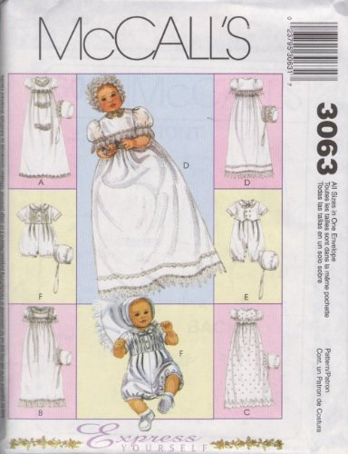 McCall's 3063 Sewing Pattern Infants Christening Gown Rompers Bonnets Newborn - Large (Christening Gown Sewing Pattern compare prices)