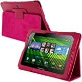 Hot Pink Folio PU Leather Case Cover Pouch for Blackberry Playbook