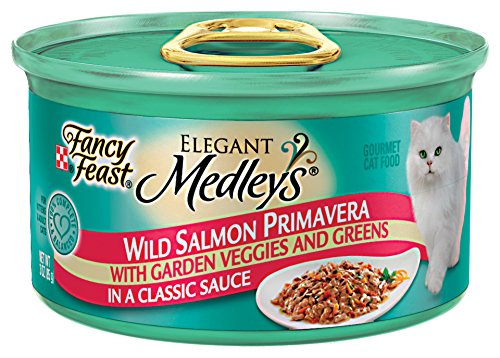 Fancy Feast Wet Cat Food, Elegant Medleys, Wild Salmon Primavera with Garden Veggies and Greens in a Classic Sauce, 3-Ounce Can, Pack of 24