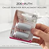 Zoe+Ruth Electronic Pedicure Callus Remover Extra Coarse Replacement Rollers, Professional Grade Foot File Refills, Water Proof Roller Heads (2 Pack)