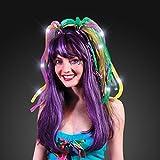 Light Up Purple, Green & Gold Hair Noodle Headbands For Mardi Gras (Set Of 24)
