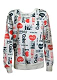 NEW LADIES WOMEN I LOVE COCA COLA PRINT SWEAT SHIRT JUMPER OVERSIZE TOP SIZE 8-14 (12)