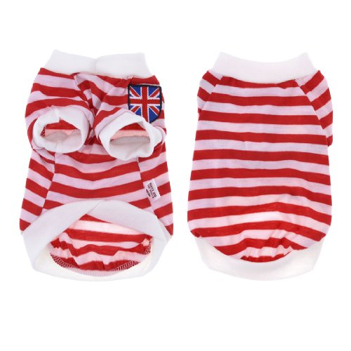 Summer Puppy Pet Yorkie Dog Tank Top Striped Tee Shirt Apparel White Red M front-869395
