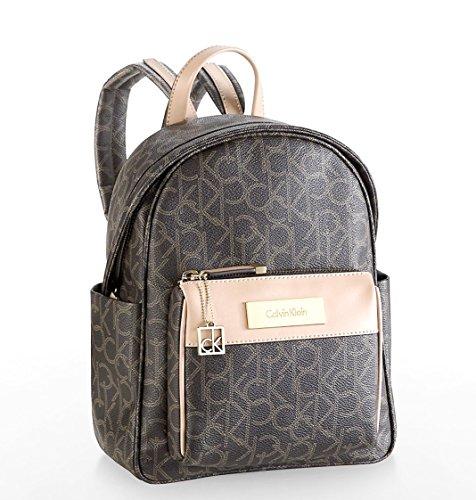 Calvin Klein Womens Jordan Logo City Utility Backpack Bag Brown