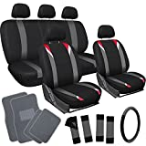 OxGord 21pc Black, Gray & Red Flat Cloth Seat Cover and Carpet Floor Mat Set for the Suzuki SX4 Hatchback, Airbag Compatible, Split Bench, Steering Wheel Cover Included